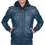 Z8 Justin Genuine Leather Bomber Jacket for Men - Slim Fit with Detachable Hood Blue