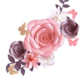 Fonder Mols 3D Paper Flowers Decorations for Wall (Pink Gray, Set of 6) for Girl Baby Shower Flowers Decorations, Girl Nursery Flowers Decor, Wedding Centerpiece