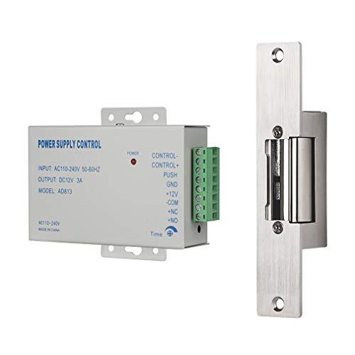 Cerradura de Golpe eléctrico, TMEZON Cerradura de Puerta eléctrica de Tipo Estrecho con Control de Fuente de alimentación, Modo NC a Prueba de fallas DC 12V Control de Acceso