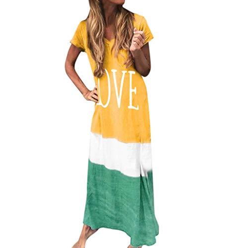 Damen Kleid Brief Drucken Farbverlauf Colorblock Kurzarm Kleid Größe Täglich Krawatte Färben Block Lose V-Ausschnitt Sommer Langes Kleid Sonojie