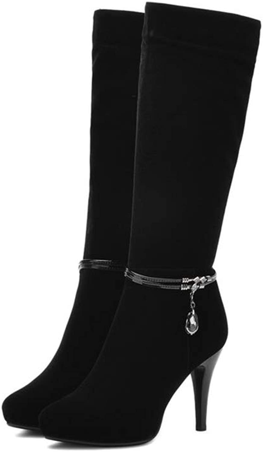 T-JULY Women Solid Elegant Boots Ladies Short Plush Knee-high Boots Thin High Heel Winter Fashion Boots