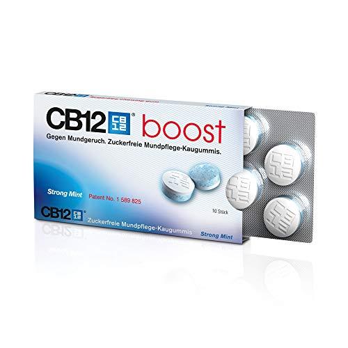 CB12 Boost patentierter Kaugummi für Atemfrische und gegen Mundgeruch | Zuckerfrei | Schneller Frische Effekt | 1 Packung mit 10 Kaugummis
