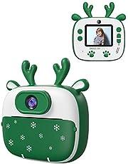 Dragon Touch Cámara Instantánea, Cámara de Fotos para Niños 26MP FHD 1920*1080 con Cámara Dual, Papel de impresión, Pegatinas, Bolígrafos de Colores, Bolsa de Cámara, Type C, 1000mA, InstantFun2 Verde