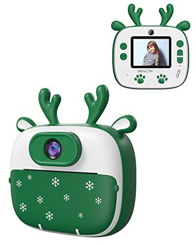 Appareil Photo Enfants de Noël, Dragon Touch Caméra Jouet Numérique avec Double Objectif, Cadeau de Noël avec Papier d'impression, Autocollant de Dessin Animé, Crayon de Couleur - Vert InstantFun2