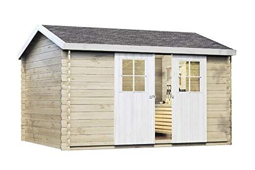 Alpholz Gartenhaus Dinant 28 aus Massiv-Holz | Gerätehaus mit 28 mm Wandstärke | Garten Holzhaus inklusive Montagematerial & Dachpappe | Geräteschuppen Größe: 360x300 cm | Satteldach