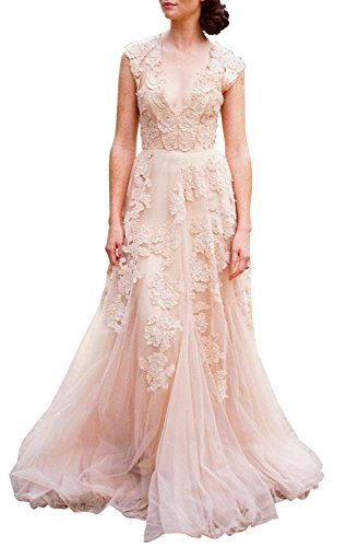 Ruolai Women's Vintage Wedding Dress Cap Sleeves Lace Bridal Gown Beach Boho Wedding Gown Light Pink 10