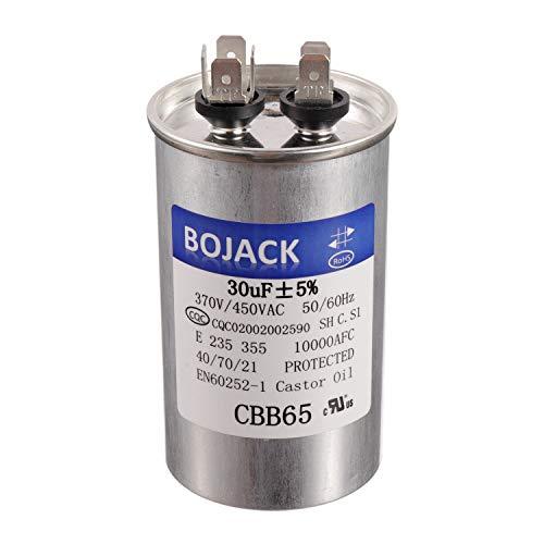 BOJACK 30 uf 370 450 V AC CBB65 Motor y ventilador Arranque redondo Condensador 30 MFD 10000 AFC