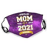 Proud Mom of A Class of 2021 Masque facial avec 2 bandanas à filtre à charbon réutilisable lavable réglable pour homme et femme