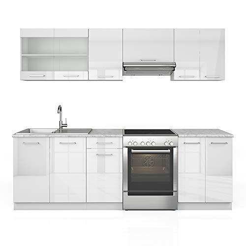 Serina Vicco Küche Raul Küchenzeile Küchenblock Einbauküche 240 cm Weiß Hochglanz