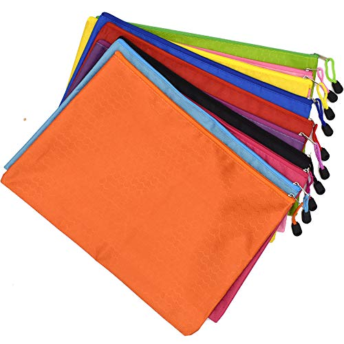Renashed 10Pcs A4 Waterproof Zipper File Bags Football Pattern Office Document Bags Students Files Category Bag 10 Color