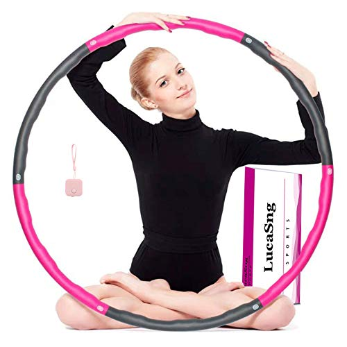 Hoola hoop fitness, Weighted hoola hoop, 8 Secciones Hoola Hoop Desmontable con Espum, Ancho Ajustable (72-95cm), Cinta métrica rosa.