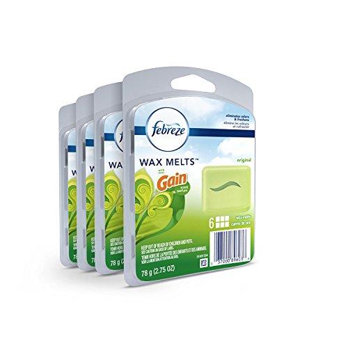 Febreze Wax Melts Air Freshener, Gain Original Scent (4 Packs, 6 Count Each)