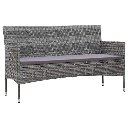 vidaXL Gartensofa 3-Sitzer mit Auflagen Loungesofa Rattansofa Couch Gartenmöbel Sofa Gartenbank Sitzbank Bank Lounge Grau Poly Rattan