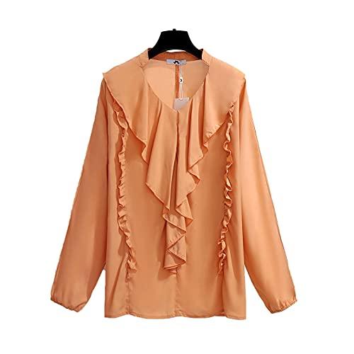 shirts De las mujeres de gasa primavera otoño casual negro caramelo V cuello manga larga volantes blusas más tamaño 4XL 5XL 6XL ropa