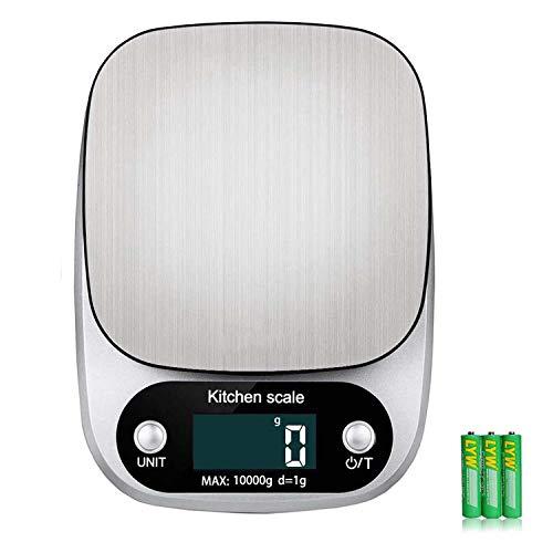 Sunyg キッチンスケール デジタルスケール オートパワーオフ機能 台はかり 風袋引き機能 高精度センサー1gから10kgまで計量可能 防水 耐熱タッチパネル採用【日本語の説明書を添付します。】 (銀色)