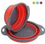 Virklyee Colador de cocina plegable, 2 piezas de filtro de silicona para verduras o frutas Incluye 2 tamaños 8 y 9,5 pulgadas de cesta de filtro (rojo)