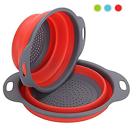 Sieb Klappbar 2 Stück Faltbare Abtropfsieb Stück Silikon Sieb Faltbare Seiher Küche Ordnung Nudelsieb (Rot)