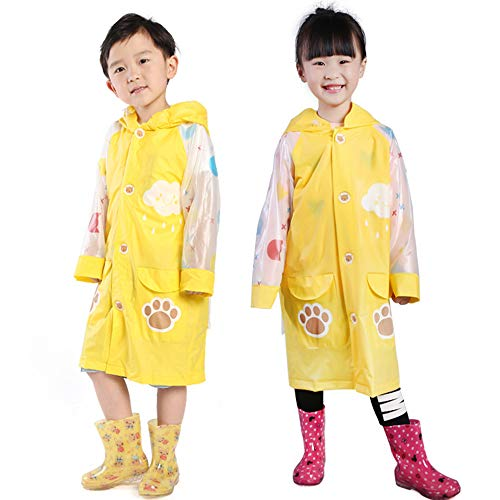 Children's regenjas voor Kid, 2 Pack Portable Unisex Waterproof Opblaasbare Brim Regenjas voor camping wandelen Travel Picnic Bivouac Walking Backpacken