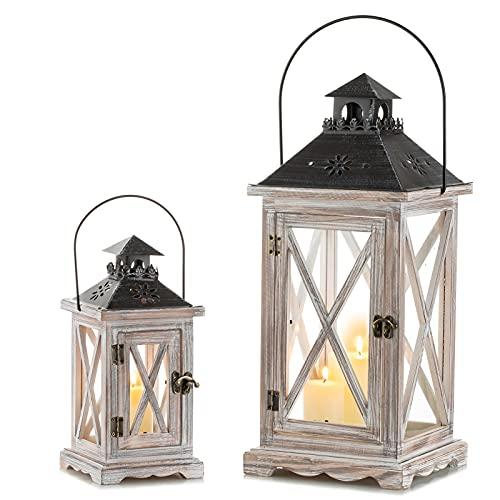Sziqiqi Lanterna Portacandele Lanterne a Candela Decorative in Metallo in Legno Invecchiato Vintage per Centrotavola per Natrimonio Rustico Lanterna Pensile Fattoria da Interno Esterno Decor 28cm&48cm