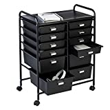 Honey-Can-Do 12-Drawer Rolling Storage and Craft Cart Organizer, Black 1 Pack