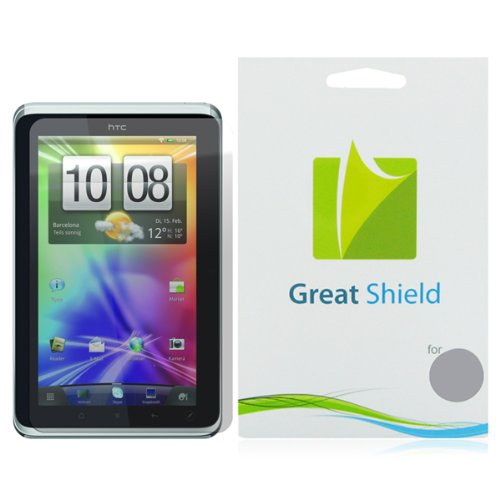 GreatShield Ultra Smooth Clear Screen Protector Film for HTC Flyer / Sprint EVO View 4G 7-Inch Touchscreen Tablet (3 Pack)