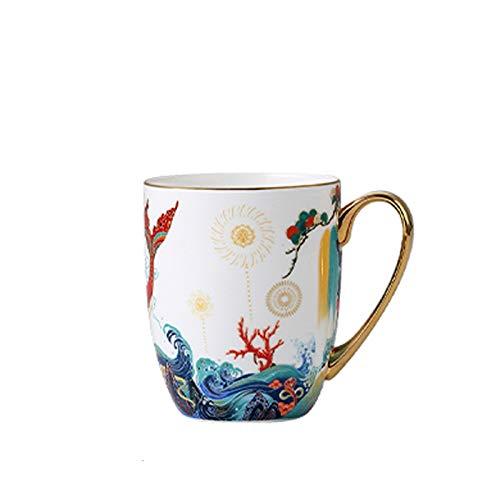 Accesorios de Mesa Bone China Taza Familia Desayuno Pareja China Leche Taza Big Fish Dibujos Animados 435ml para la Oficina en casa