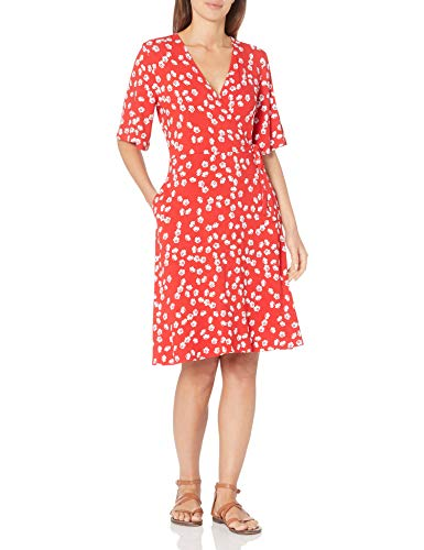 Amazon Essentials Kimono Vestido Envolvente de Manga Dresses, Amapola Tostada Roja, US XS (EU XS - S)