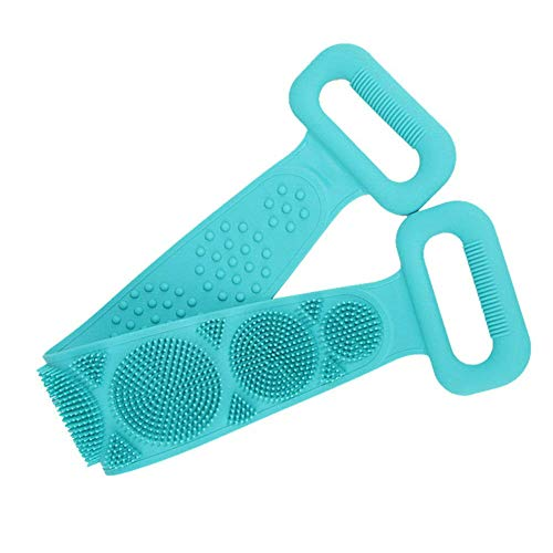 SHUAXI Silicone Back Scrubber for Shower,Exfoliating Lengthen Bath Body Brush,Easy to Clean Lathers Well Eco Friendly, Long 29in (Blue)