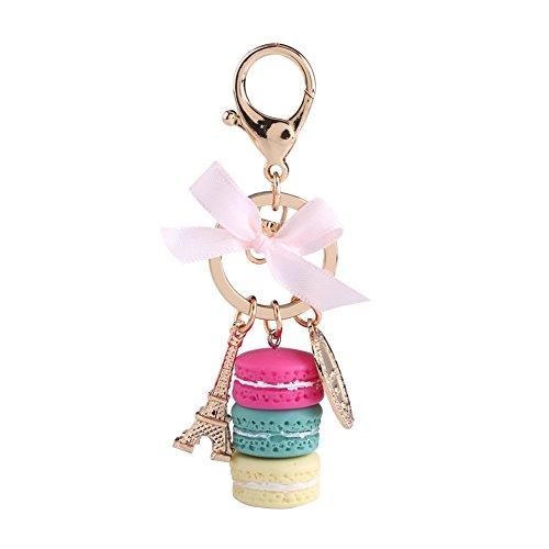 Llavero Macaron de aleación con diseño de macaron, diseño de la Torre Eiffel, con colgante de coche, encanto decorativo para el hogar, niños, regalo de fiesta de Navidad (rosa rojo)