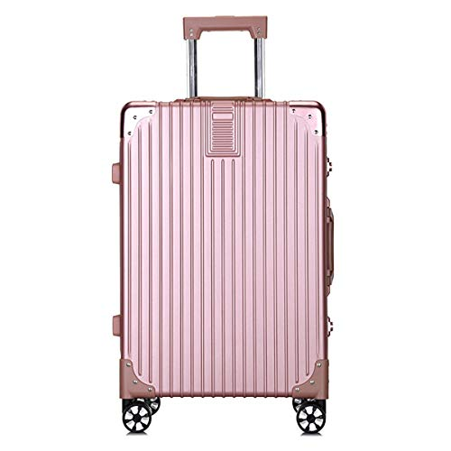 fosa1 Hand Luggage Trolley case PC Convenient Trolley Case,Super Storage Luggage Bag,Wheels Travel Rolling Boarding,20' 24' Inch (Color : Rose gold, Size : 24inch)