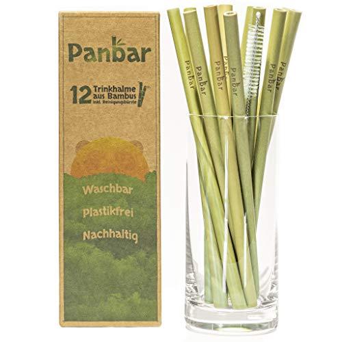 Panbar Strohhalme aus 100% Bambus Trinkhalme nachhaltig & wiederverwendbar | TOP Qualität | 12er Pack | inkl. Reinigungsbürste