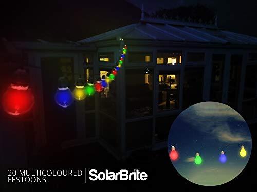 Solar Aliment/é Lumi/ères par SPV Lights Imperm/éable Ext/érieur Energie Solaire Eclairages avec Int/égr/é Nuit Capteur Ficelle et Piquet 200 Multicolores LED Solaire Guirlandes