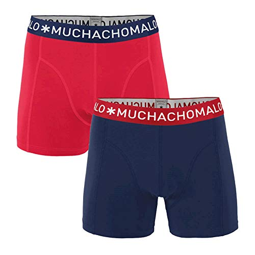 Muchachomalo 2er-Pack Boxershorts Print … (M, SOLID1010 (Rot/Blau))