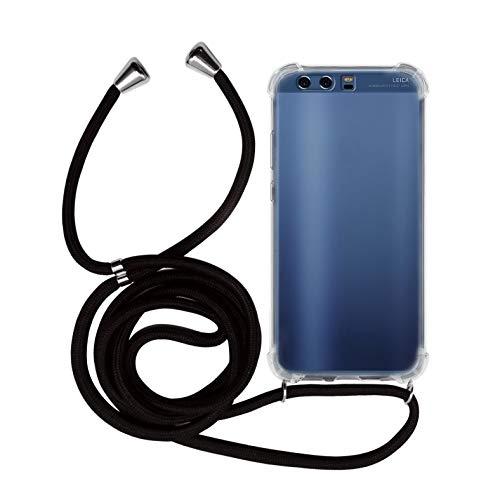 MyGadget Funda con Cuerda para Huawei P10 Plus - Carcasa Transparente en Silicona TPU Suave con Cordón - Case y Correa Colgante Ajustable - Color Negro