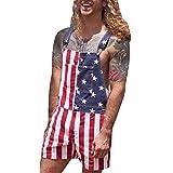 SHEDE Día de la Independencia Drilmsuit Denim Empalme Bib Mono Shorts Rompe Denim Short Talls con Correas Ajustables Bolsillos para Hombres competent