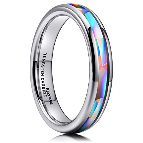 King Will Men's 4mm Silver Tungsten Carbide Ring Inlaid Triangle White Opal Sticker Dome Wedding Engagement Band 10.5