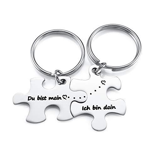 Zysta 2 Stück Pärchen Schlüsselanhänger mit Gravur Du bist Mein, Ich Bin Dein Puzzle Anhänger Edelstahl Paar Schlüsselbund Liebe Keychain für Partner Valentistag Geschenk