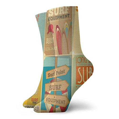 Retro Posters Collection Summer Vacation Theme Hobby Deportes acuáticos California Beach Slipper Calcetines para mujer, calcetines divertidos 30 cm