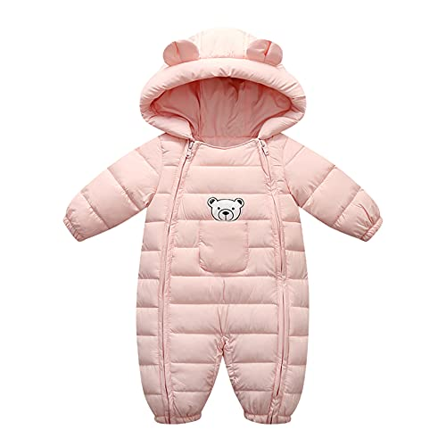0-2 Years,SO-buts Toddler Kids Baby Girls Boys Hooded Outdoor Thick Warm Windproof Coat Romper Jumpsuit Jacket Snowsuit Winter Thicken Snow Coat (Pink, 12-18 Months)
