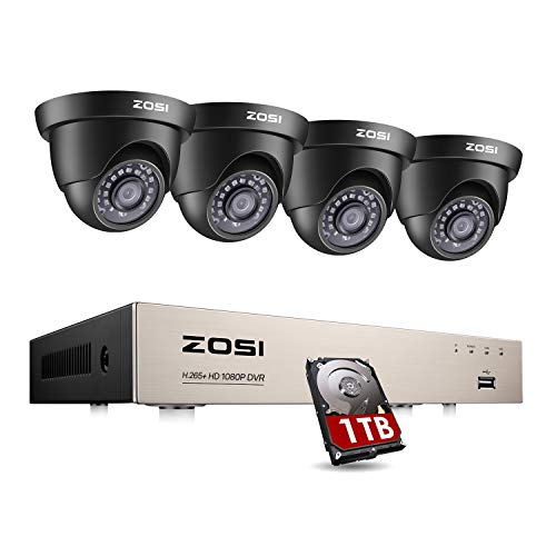 ZOSI Security CCTV Camera System w/1TB Hard Drive, 8CH 720P TVI-DVR w/ 4x 720P Dome Security Cameras, Home Security System Kit
