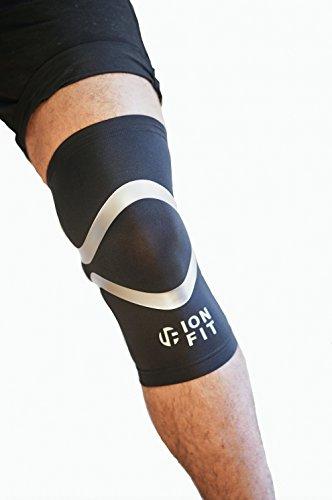 Ionfit Compression Sleeve Bein/Kniebandage, von Detlef Soost empfohlen, Anti-Geruch, Anti-bakteriell, Gr. S-XXL, Schwarz, XL