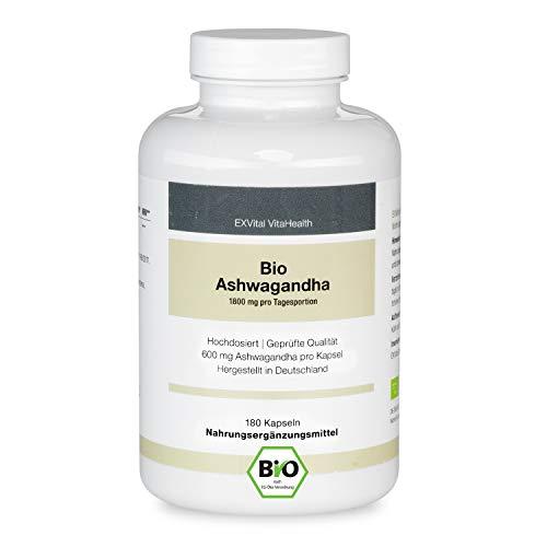EXVital premium Bio Ashwagandha,180 Kapseln – 600 mg je Kapsel (1800 mg Tagesportion) - Vegan - ohne Zusatzstoffe - hergestellt in Deutschland, bekannt aus der indischen Heilkunde Ayurveda