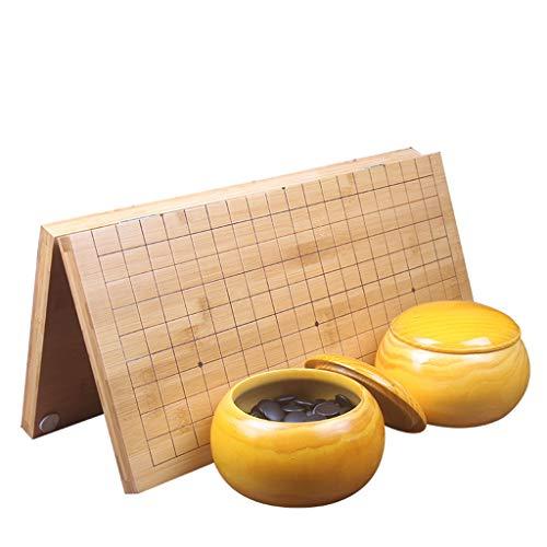 Go Game Classic Go Game Board Set, mit zwei Go-Topf und zusammenklappbarer Bambus Go Board Chess Go Chess-Spiel, Geschenke für Kinder und Teenager Strategie-Brettspiel (Color : B)