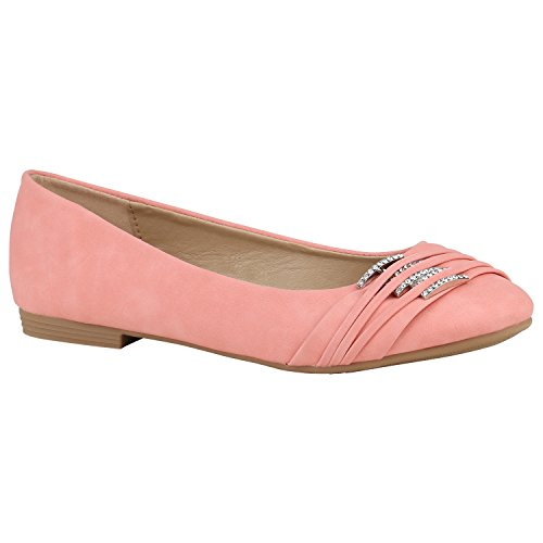 stiefelparadies Klassische Spitzen Damen Ballerinas Flats Schleifen Lack 155247 Coral Strass 41 Flandell