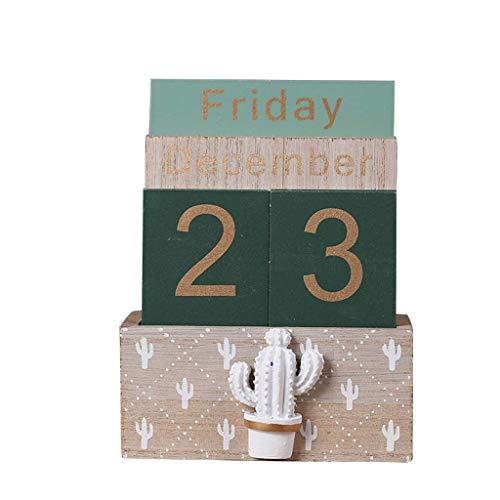 Yushu Calendario perpetuo de madera vintage, planificador de bloques eternos, accesorios de fotografía, mes y semana, fecha, calendario de visualización de la familia, organizador de año
