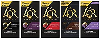 L'OR Nespresso Original line compatible Aluminium Capsules Set of 5 Flavours Variety Pack 50 Pods