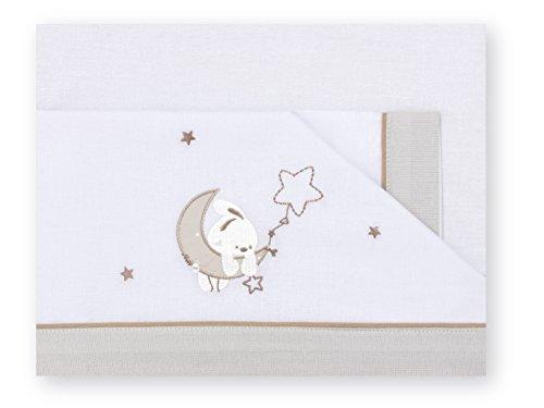 Pirulos 00113110 - Sábanas, diseño luna, 50 x 80 cm, color blanco y lino