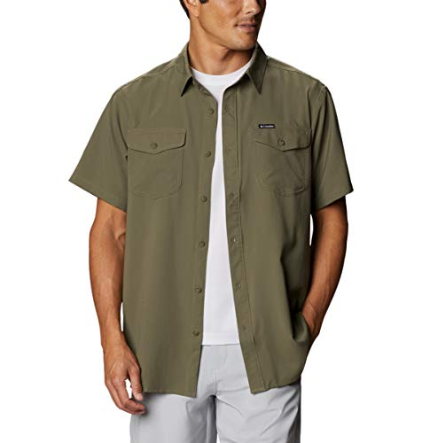 Columbia Men's Utilizer II Solid Short Sleeve Shirt, Moisture Wicking, Sun Protection, Stone Green, Small