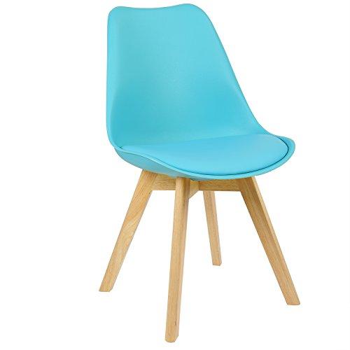 WOLTU BH29bl-1 Sedie per Sala da Pranzo Sedia Cucina Sgabello con Schienale Seduta Ecopelle e Plastica Gambe in Legno di Faggio Moderno 1 Pezzo Blu