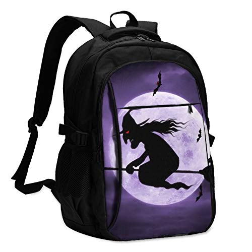 544 Witch Moon Bat Broom Multifunctional Printed Backpack for Adults and Kids USB School Bag